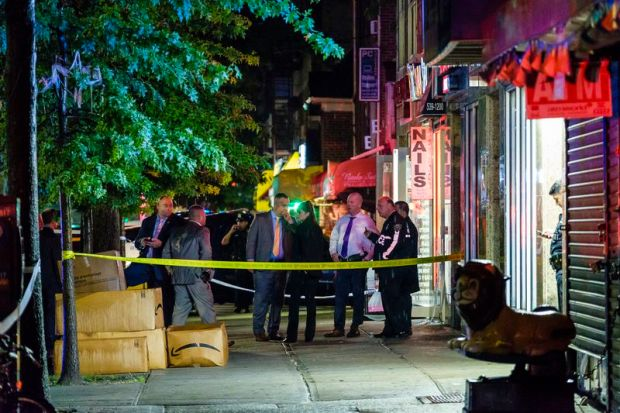 NYPD investigate crime scene after the husband of Iris Rodriguez stabbed her inside a Queens nail salon 2