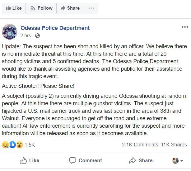 Odessa, Texas police tweet on random mass shooting 1