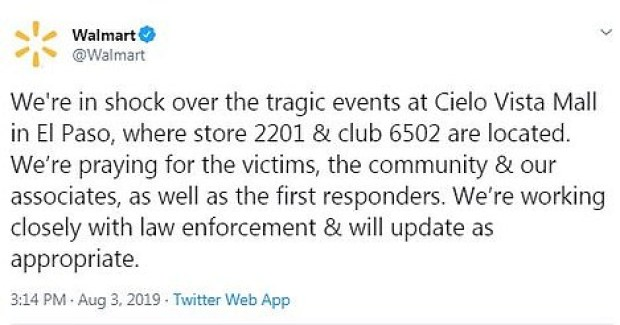 Walmart issued a statement on shooting