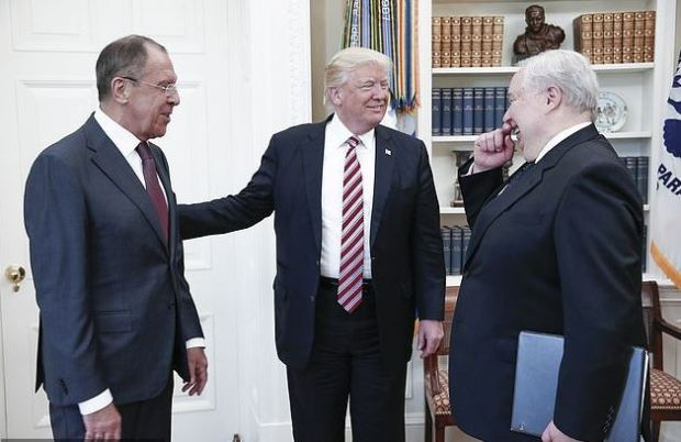 L-R Sergei Lavrov, Donald Trump,and Sergei Kislyak 1