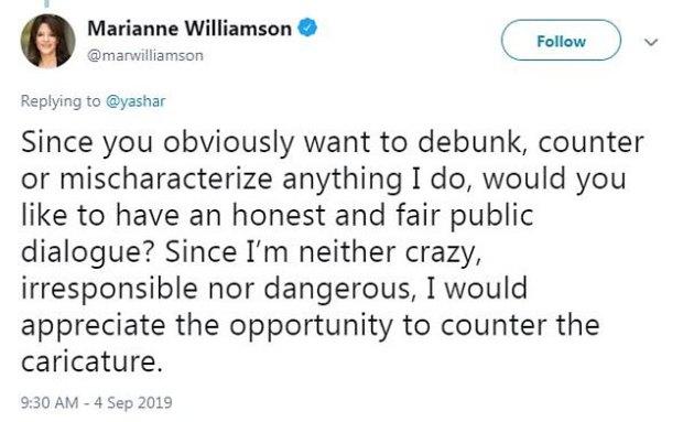 Marianne Williamson tweet on hurricane Dorian 2