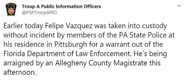 PIttsburgh police  statement on Felipe Vasquez arrest 1.jpg
