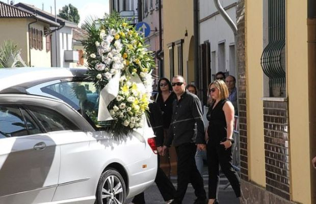Andrea Zamperoni's mother Oriella and twin brother Stefano Zamperoni during his funeral.JPG