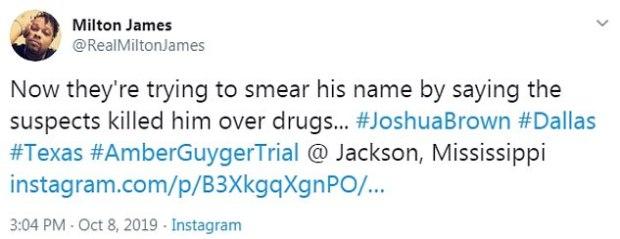 Milton James tweet on Joshu Brown murder.jpg
