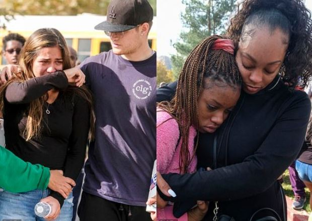 Anxious parents unite with their children after the shooting at Saugus High School in Santa Clarita, California on Nov 14, 2019 2