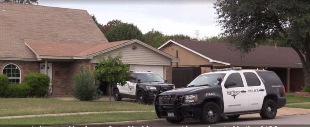 Fort Worth Police at the scene where the body Triston Ray Algiene was found 2.JPG