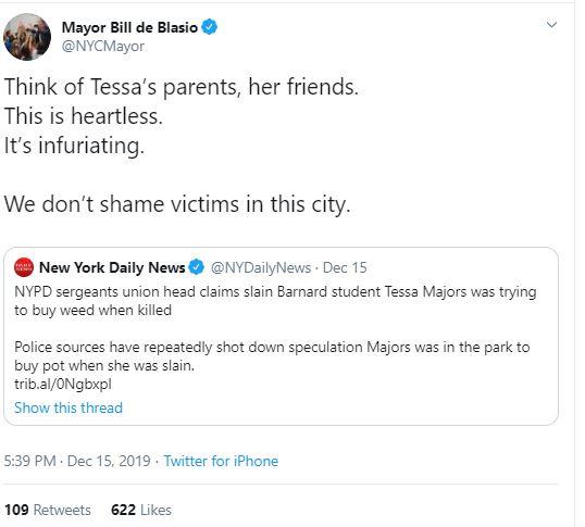 Bill de Blasio tweet on Tessa Majors 1