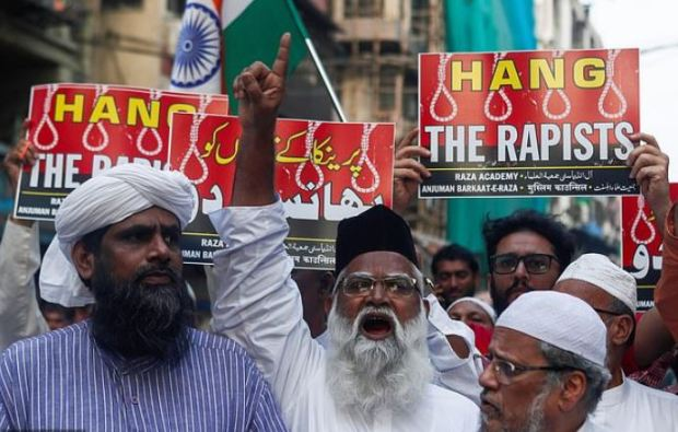 '#HangRapists' has been trending on this week with demonstrators in Utter Pradesh, India