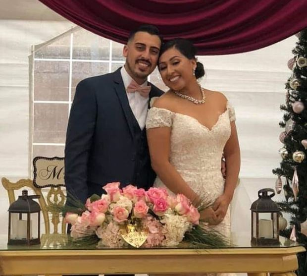 Joe Melgoza with his wife, Esther on their wedding day 1