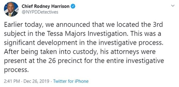 Tweet by NYPD Chie Rodney Harrison on Tessa Majors murder 2