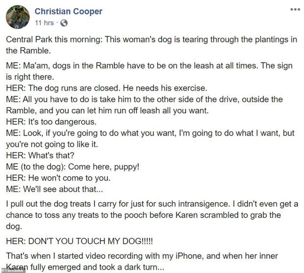 Christian Cooper wrote on Facebook about encounter with Amy Cooper 1