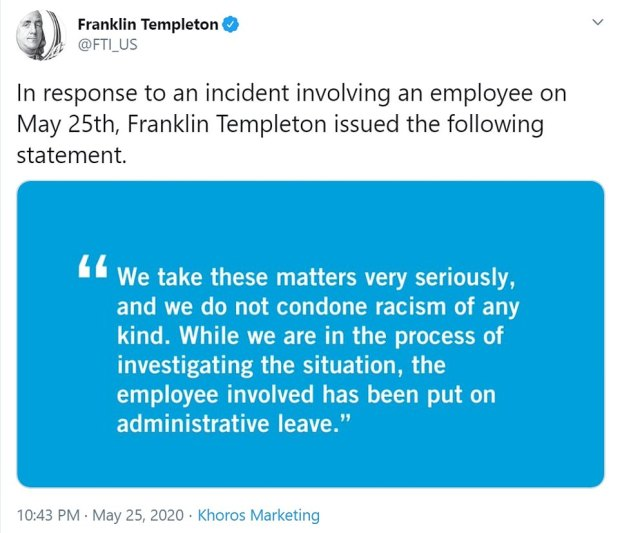 Frank Templeton response to Amy Cooper actions 1