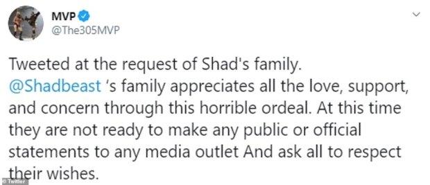 MVP's tweet on Shad Gaspard death 1