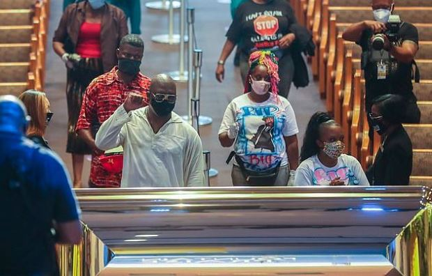 Mourners attend George Floyd's casket viewing in Houston, Tx on June 8 2