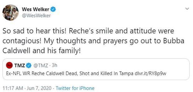 Wes Welker's tweet on Reche Caldwell murder