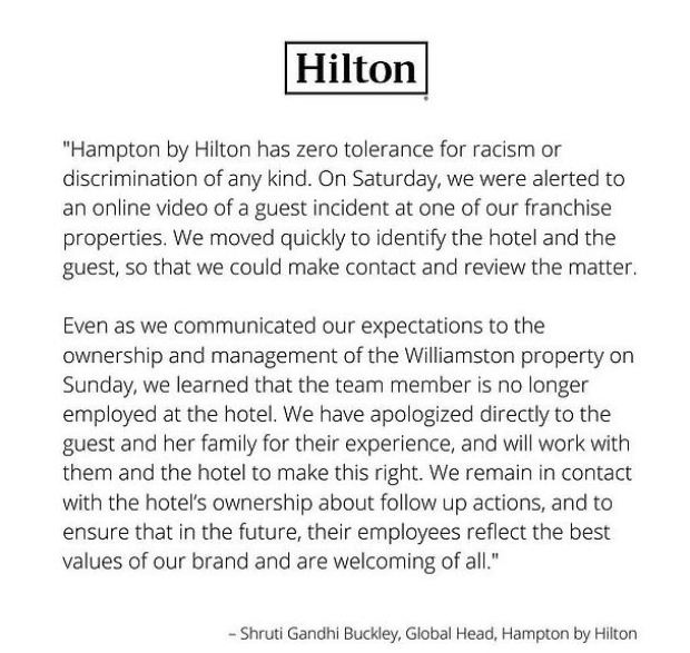 Hilton apologia to Anita Williams-Wright 1