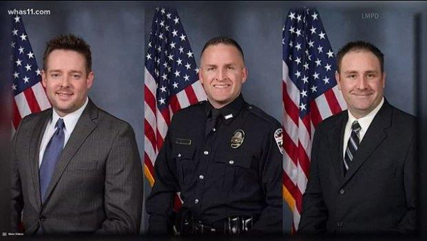 Sgt. Jonathan Mattingly [left], and Detectives Brett Hankison and Myles Cosgrove [right] 1