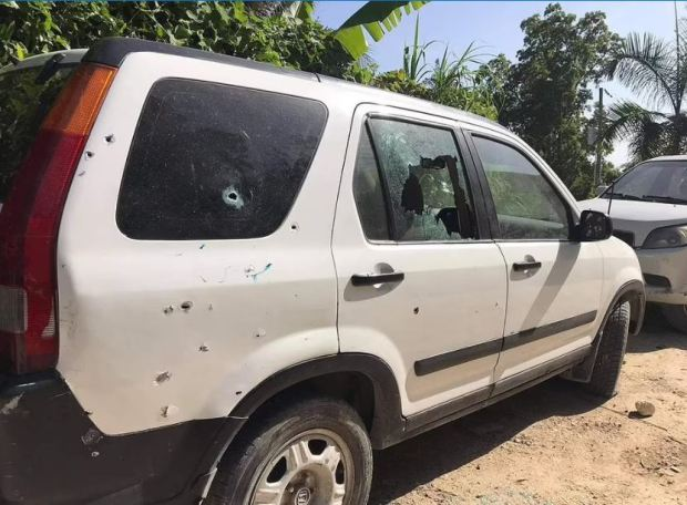 This image has an empty alt attribute; its file name is Car-riddled-with-bullet-holes-outside-the-late-president-Jovenel-Moises-home-in-Port-au-Prince-haiti-1.jpg