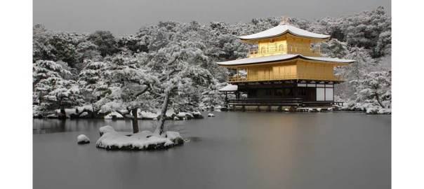 雪の金閣寺 画像