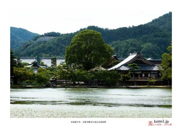 右京区嵯峨鳥居本一華表町(さが とりいもと いっかひょうちょう)「鳥居形」。大覚寺大沢池の西後方に見える「鳥居形」。