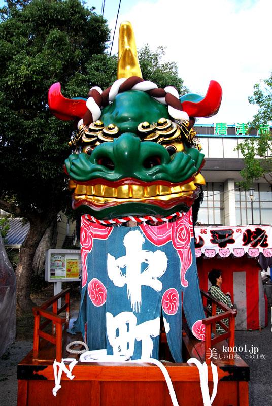 唐津くんち 唐津神社出発 二番曳山 青獅子