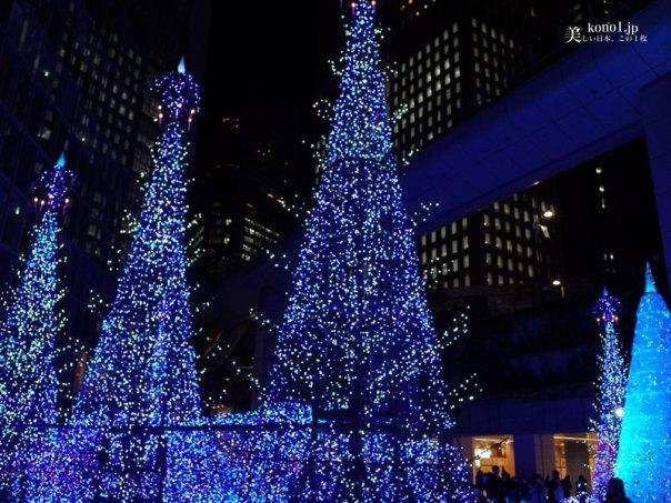 東京 夜景 クリスマスツリー イルミネーション 新橋 汐留 カレッタ  LED