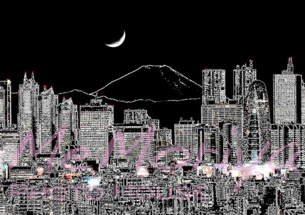 Takataro個展 新宿の夜 富士山 絵画 アート