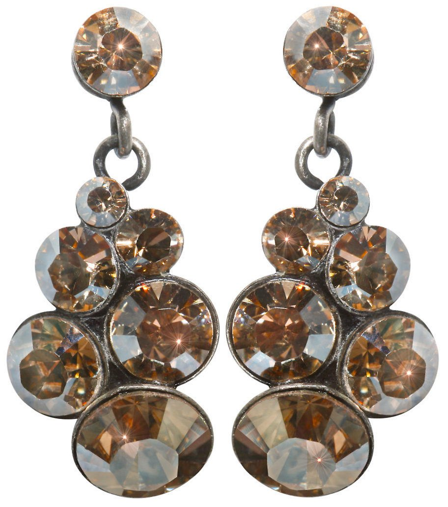 image for earring stud dangling petit glamour beige antique silver hang in multiple stones