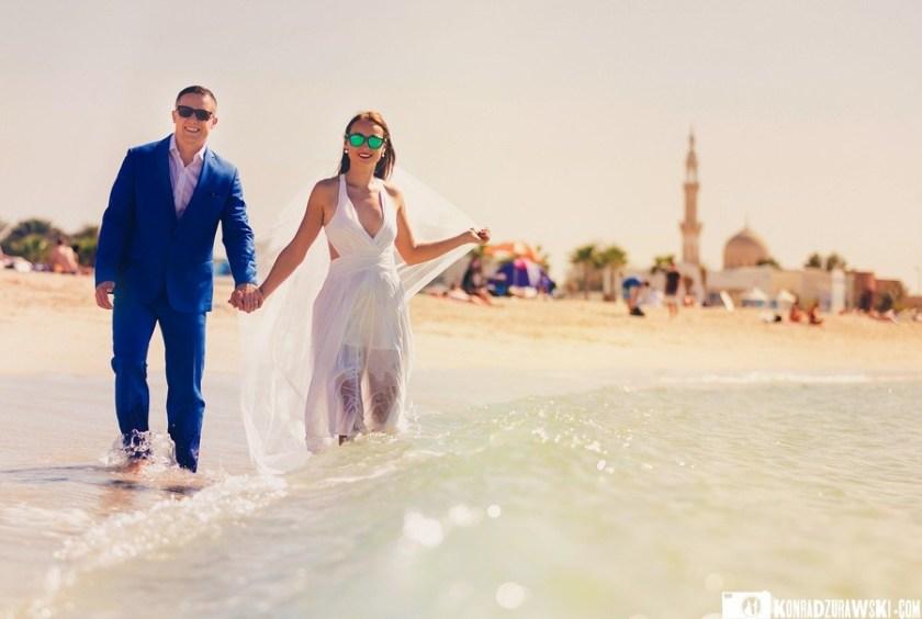 Sesja ślubna na plaży w Dubaju   Konrad Żurawski