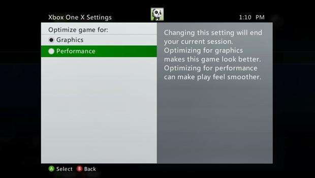 Xbox One X Settings Screen shot 2