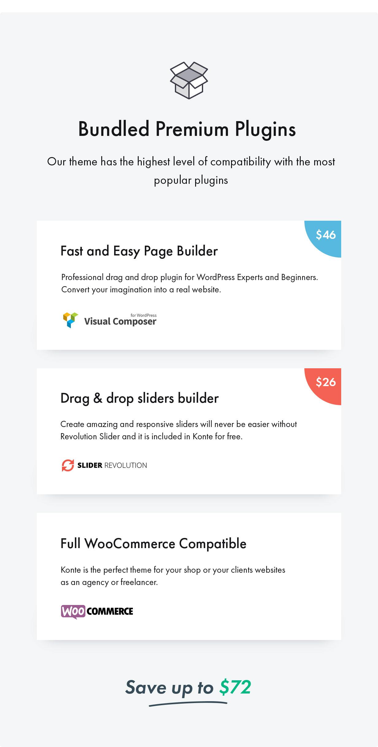 Konte WordPress theme - supported plugins