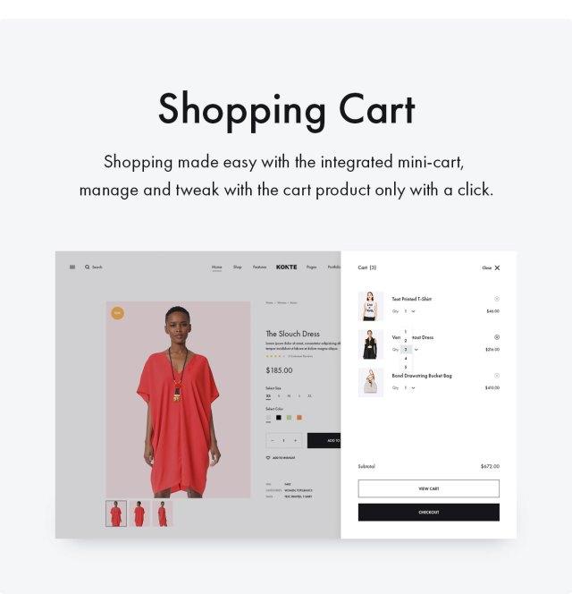 Konte WooCommerce theme - Shopping cart
