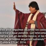 Evo: en Bolivia se rebajan tarifas de luz, agua y comunicaciones porque son un derecho humano