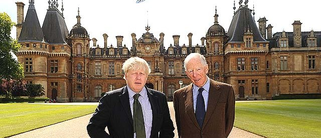 AYLESBURY, ENGLAND - JUNE 05: Boris Johnson and Lord Rothschild pose in front of Waddesdon Manor during the opening of exhibition 'Predators & Prey: A Roman Mosaic From Lod, Israel' at Waddesdon Manor, on June 5, 2014 in Aylesbury, England. (Photo by Stuart C. Wilson/Getty Images for Waddesdon Manor)