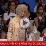 (VIDEO) Estela de Carlotto: «Ni un retroceso en las políticas de Memoria, Verdad y Justicia»