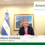 """Alberto Fernández ante el Council of the Americas: """"No estoy aquí ni mi gobierno está aquí para pelear con nadie"""""""
