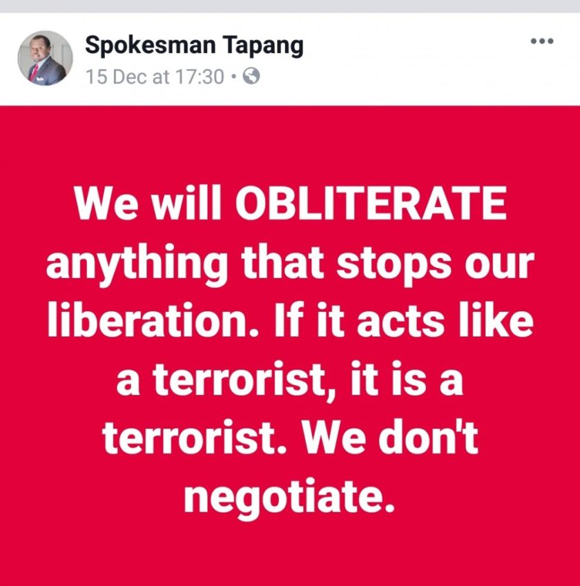 Tapang says.. We will OBLITERATE - We don't Negotiate.