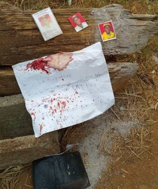 Amba Terrorism - A warning message left with the beheaded man's head
