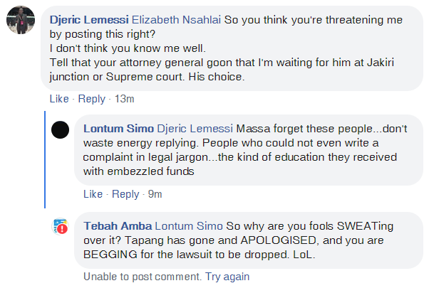 I went back to comment, but he had removed the comment after seeing my post on this website.
