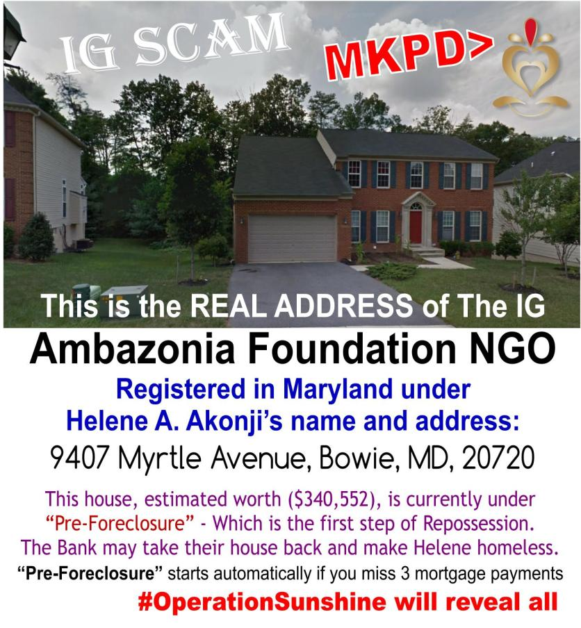 IG Scam - House - Foreclosure address of the Ambazonia foundation inc