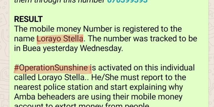 #OperationSunshine Activated on Stella Lorayo