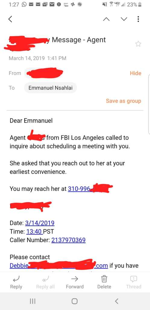 The FBI contacted Barrister Nsahlai