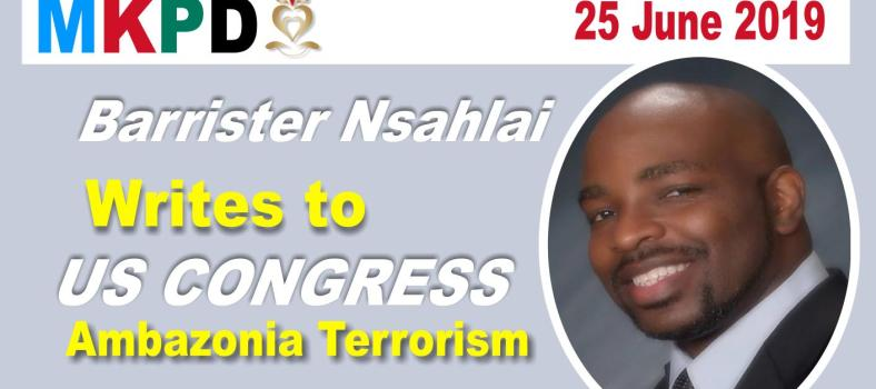 nsahlai writes to US congress about Ambazonia Terrorism