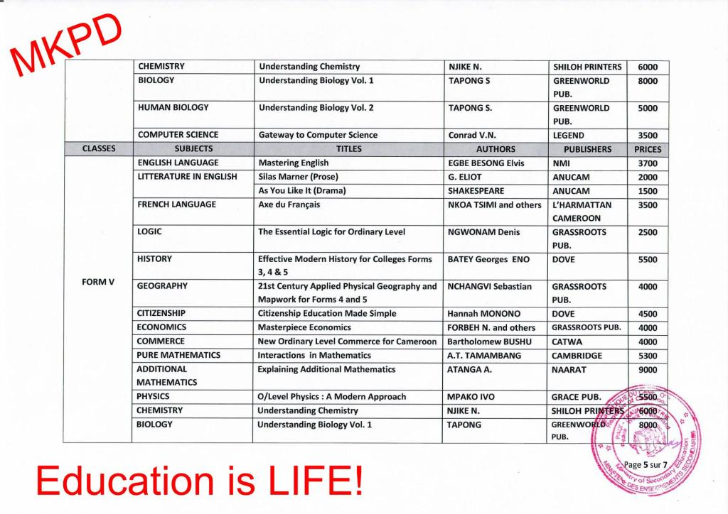 Official textbook list for academic year 2019/20