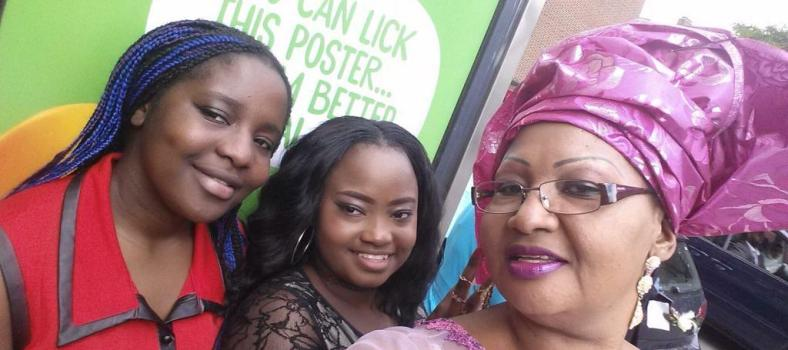 Elsie with her daughters. The one in red saved by the Cameroon education system from joining gangs, pregnancy or prison in London.