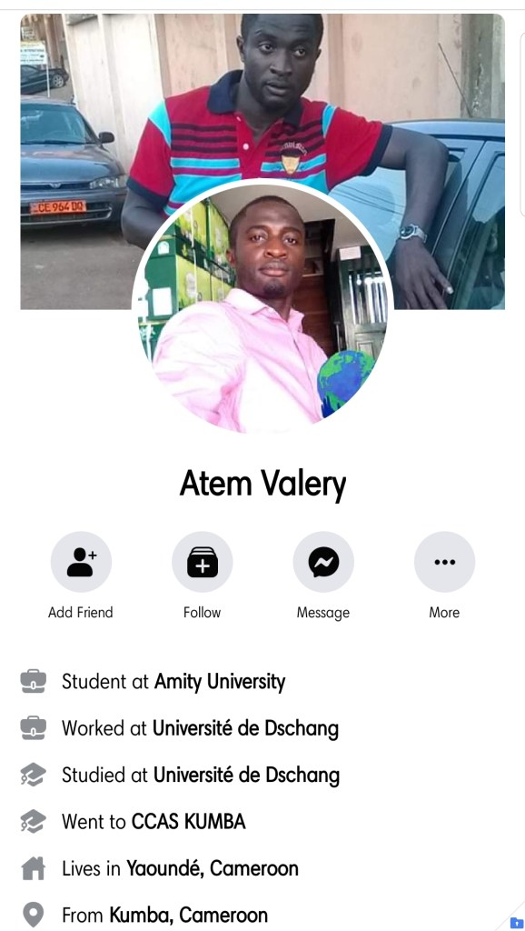 Atem Valery is an Ambazonian. He must be arrested and given some KumKum with Okro, for inciting Terrorism against fellow Cameroonians on Facebook