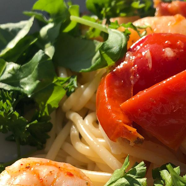 Spaghetti met pittige garnalen 2