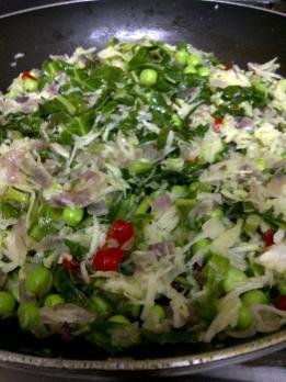 Vegetable Base for Green Pea & Kohlrabi Cakes