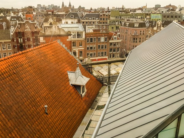 Rooftop view on Amsterdam houses