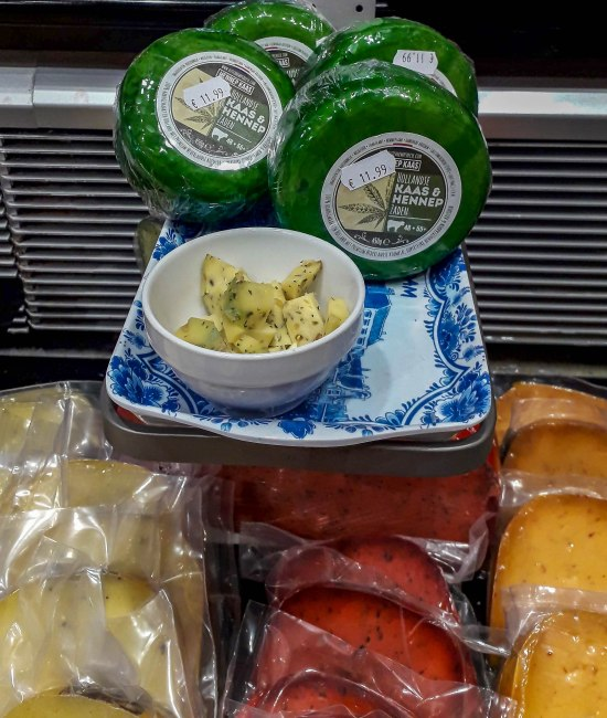 Hemp cheese in Dutch cheese store